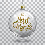 Vector christmas glass ball on transparent background. Xmas ball. Decoration template can use any color background Stock Image