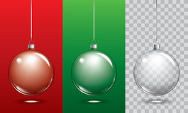 Vector christmas glass ball on transparent background. Xmas ball Stock Image