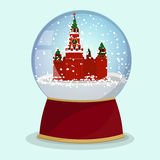 Vector Christmas Glass globe with the falling snow and Kremlin in it.Moscow Royalty Free Stock Photos