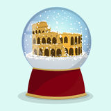 Vector Christmas Glass globe with the falling snow and Roman Coliseum in it.Rome Stock Photos
