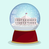 Vector Christmas Glass globe with the falling snow and White House in it.Washington DC Stock Photo