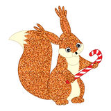 Vector Christmas Glitter Squirrel with Candy Stick Royalty Free Stock Photos