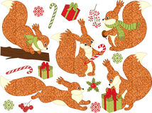 Vector Christmas Glitter Squirrel Set Royalty Free Stock Images
