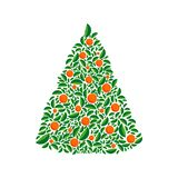 Vector christmas green tree with orange balls. Isolated vector illustration. Cartoon greeting card, festive poster or party royalty free illustration