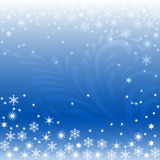 Vector christmas greeting card. Vector illustration with snowflakes on blue winter background Stock Images