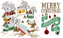 Vector Christmas greeting card Royalty Free Stock Images