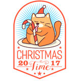 Vector Christmas greeting card in badge shape . Fat cat licking candy cane. Bright happy colors. Cute design in cartoon Royalty Free Stock Photography