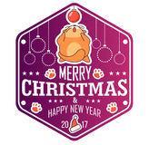 Vector Christmas greeting card in badge shape . Fat cat playing with xmas toy. Bright happy colors. Royalty Free Stock Image