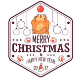 Vector Christmas greeting card in badge shape . Fat cat playing with xmas toy. Isolated on white background. Cute design Royalty Free Stock Photo