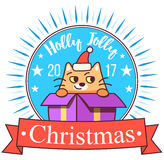 Vector Christmas greeting card in badge shape . Fat cat sitting in gift box. Bright happy colors. Cute design in cartoon Stock Photos
