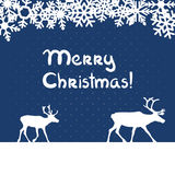 Vector christmas greeting card. Vector christmas blue greeting card with deers and snowflakes Royalty Free Stock Images