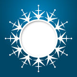 Vector christmas greeting card. Vector christmas blue greeting card with place for text and snowflake Stock Photos