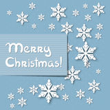 Vector christmas greeting card. Vector christmas blue greeting card with place for text and snowflakes vector illustration