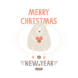 Vector christmas greeting card with cute sheep. And heart, decorative elements, new years illustration Stock Photography