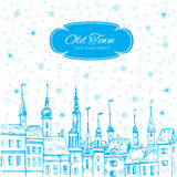 Vector Christmas greeting card with european old house and snowflake, Template poster, card with urban scene Royalty Free Stock Photo