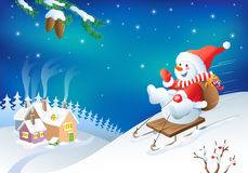 Vector Christmas greeting card with fanny snowman. Royalty Free Stock Photo