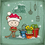Vector Christmas greeting card. Funny Christmas card with a monkey stock illustration
