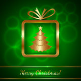 Vector Christmas Greeting Card with Gift Royalty Free Stock Photography