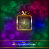 Vector Christmas Greeting Card with Gift Stock Images
