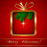 Vector Christmas Greeting Card with Gift Royalty Free Stock Images