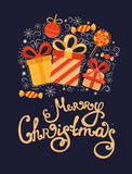 Vector Christmas greeting card with gifts. Vector Christmas greeting card with gifts, christmas ball, candy, snowflakes and lettering. Illustration xmas royalty free illustration