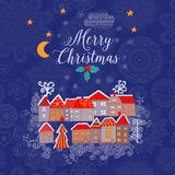 Vector  Christmas greeting card with houses placed around the half of planet, set of cute vector houses, winter theme. Christmas p. Ostcard Royalty Free Stock Image