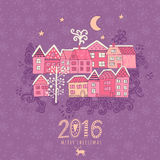 Vector  Christmas greeting card with houses placed around the half of planet, set of cute vector houses, winter theme. Christmas p Stock Images
