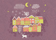 Vector  Christmas greeting card with houses placed around the half of planet, set of cute vector houses, winter theme. Christmas p Royalty Free Stock Images