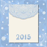 Vector christmas greeting card. Vector invitation christmas card with floral pattern. Wishes, 2015 Stock Images