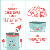 Vector christmas greeting card and new year with. Cute mug isolated on white background, 2015 Stock Image