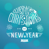 Vector christmas greeting card. With new year lettering. Illustration on blue background 2015, EPS10 vector illustration