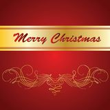 Vector Christmas greeting card. Red background Stock Photos