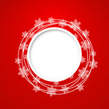 Vector christmas greeting card. Vector christmas red greeting card with place for text and snowflakes Royalty Free Stock Photography
