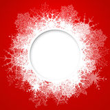 Vector christmas greeting card. Vector christmas red greeting card with place for text and snowflakes Royalty Free Stock Images