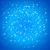 Vector Christmas Greeting Card with Snowflakes on Blue Background Royalty Free Stock Photography