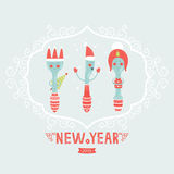 Vector christmas greeting card with spoon, plug,. Knife and decorative elements Stock Photography