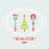 Vector christmas greeting card with spoon, plug,. Tree and decorative elements Royalty Free Stock Photo