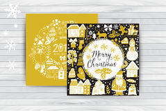 Vector  Christmas greeting card templates on wood table, Merry Christmas. Wreath design made of childish doodles: Santa, houses, d Stock Image