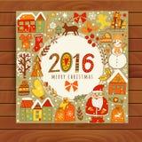 Vector  Christmas greeting card templates on wood table, Merry Christmas. Wreath design made of childish doodles: Santa, houses, d Stock Photos