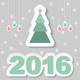 Vector christmas greeting card. Greeting with Christmas tree on gray background Stock Photo
