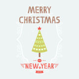 Vector christmas greeting card with tree. Vector christmas greeting card with green tree and decorative elements Royalty Free Stock Photography