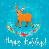 Vector Christmas greeting card. With a phrase Happy Holidays. Cartoon style raindeer surrounded by snowflakes and wreath on textured background Stock Photography
