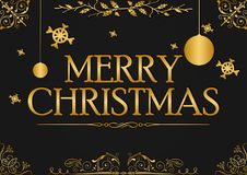 Merry christmas greeting card design. Vector christmas greetings background illustration Stock Image