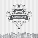 Vector Christmas and Happy New Year badges label emblem with clean modern styled design Royalty Free Stock Image