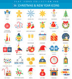 Vector Christmas and Happy New Year flat icon set. Elegant style design. Stock Photo