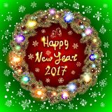 Vector Christmas happy new year 2017 gold wreath. red and green background. Royalty Free Stock Photo