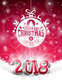 Vector Christmas and 2018 Happy New Year Illustration on Shiny Red Background with Holiday Typography Element and 3d Royalty Free Stock Images