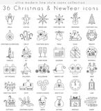 Vector Christmas and Happy New Year ultra modern outline line icons for apps and web design. Christmas sybols for app. And web royalty free illustration