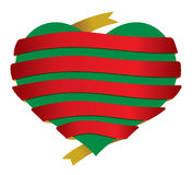 Vector christmas heart banner ribbon Royalty Free Stock Images