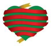 Vector christmas heart banner ribbon Royalty Free Stock Images